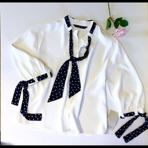 Zara White Blouse with polka dot sash at neck